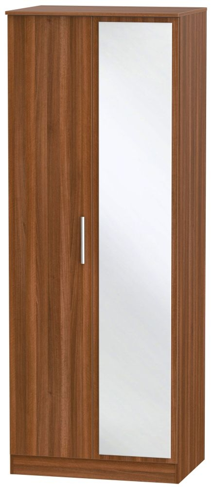Contrast Noche Walnut 2 Door Tall Mirror Double Wardrobe