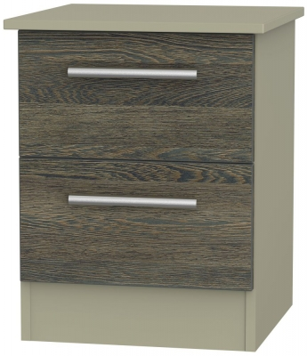 Contrast 2 Drawer Bedside Cabinet - Panga and Mushroom