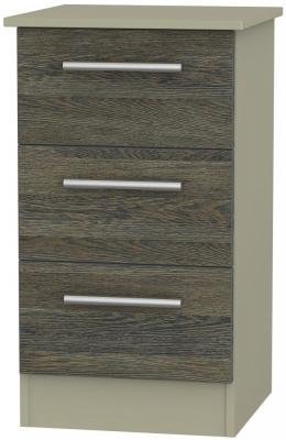 Contrast 3 Drawer Bedside Cabinet - Panga and Mushroom