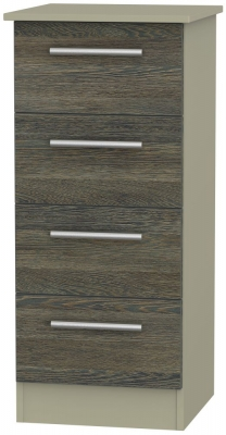 Contrast 4 Drawer Tall Chest - Panga and Mushroom
