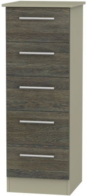 Contrast 5 Drawer Tall Chest - Panga and Mushroom