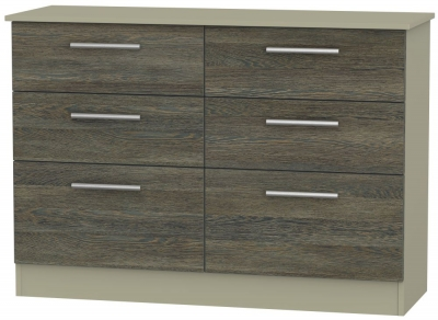 Contrast 6 Drawer Midi Chest - Panga and Mushroom