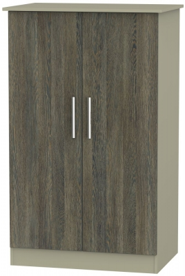 Contrast 2 Door Midi Wardrobe - Panga and Mushroom