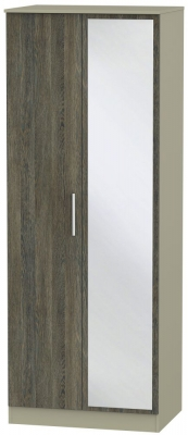 Contrast 2 Door Mirror Wardrobe - Panga and Mushroom