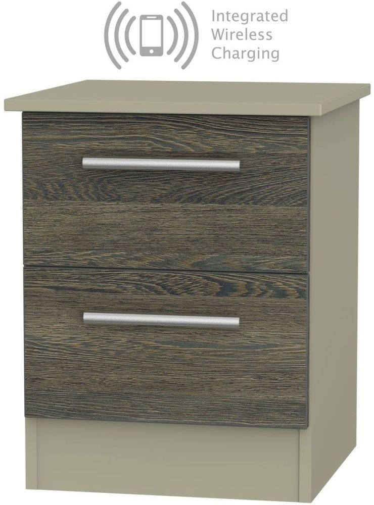 Contrast 2 Drawer Bedside Cabinet with Integrated Wireless Charging - Panga and Mushroom