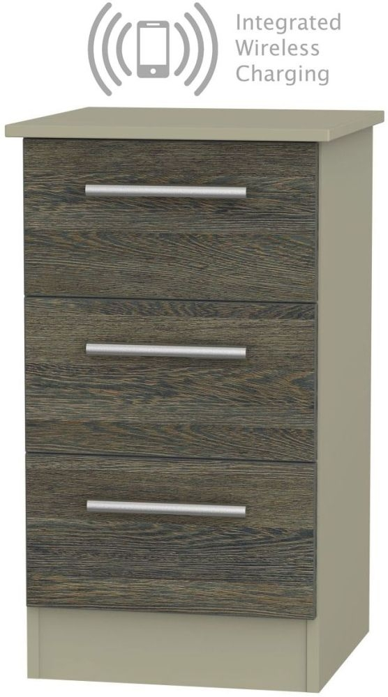 Contrast 3 Drawer Bedside Cabinet with Integrated Wireless Charging - Panga and Mushroom