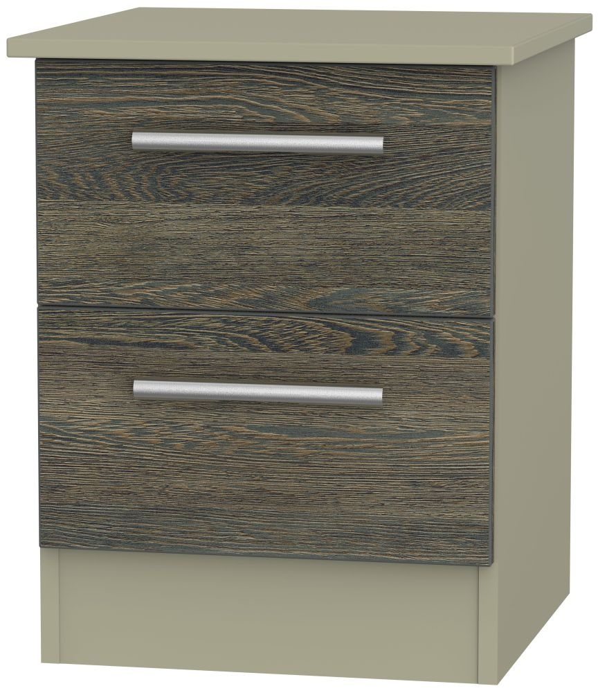 Contrast Panga and Mushroom 2 Drawer Locker Bedside Cabinet