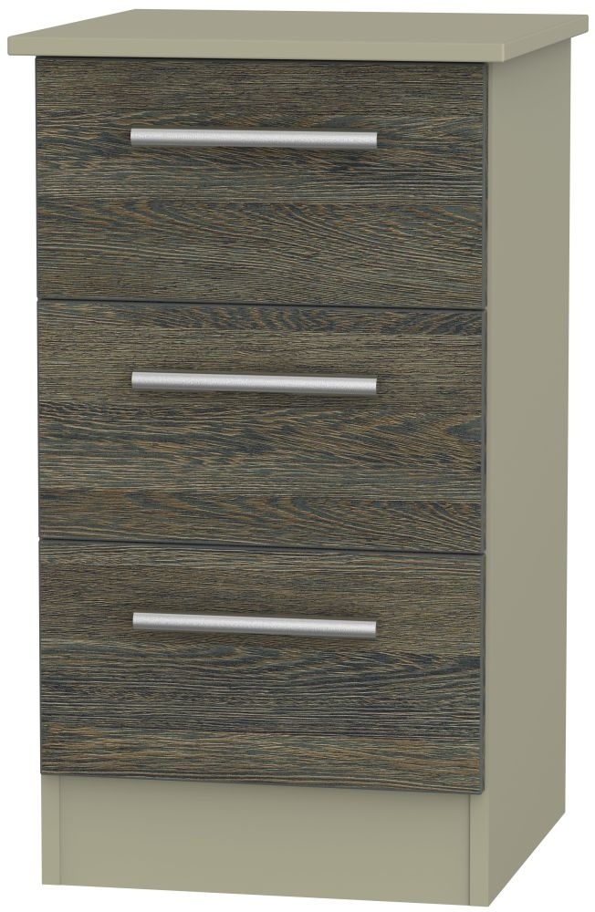 Contrast Panga and Mushroom 3 Drawer Locker Bedside Cabinet