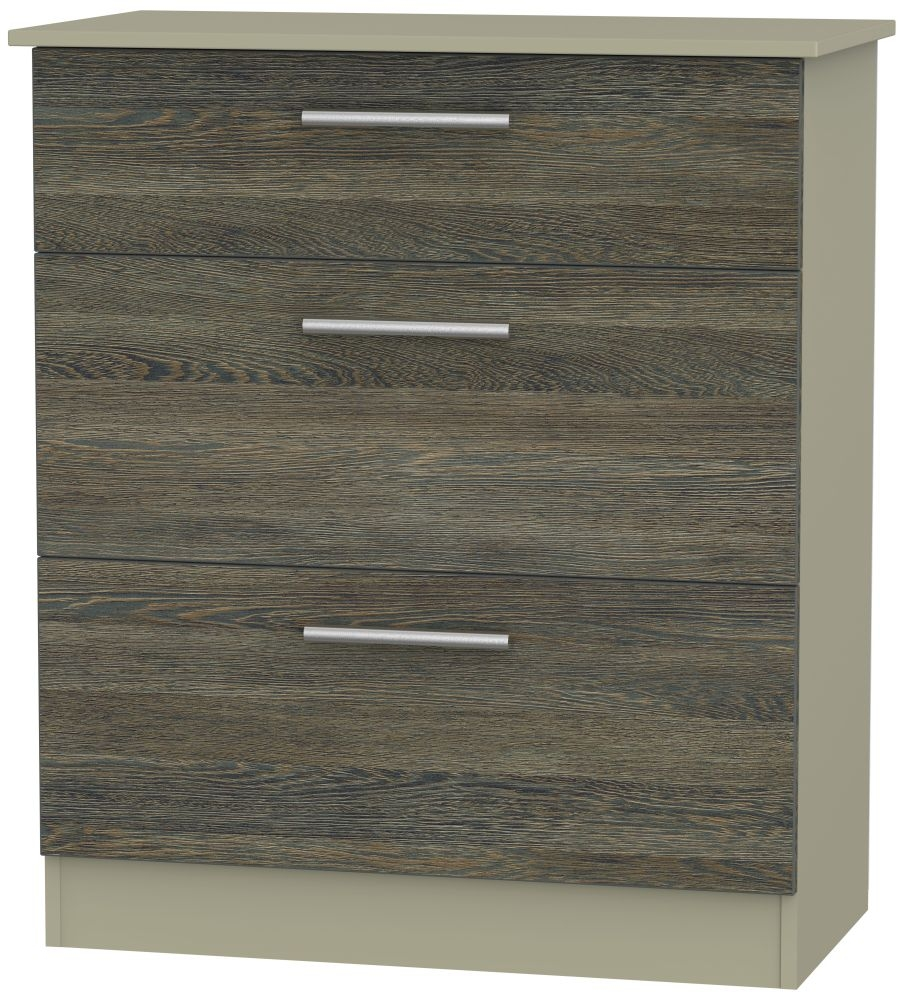 Contrast 3 Drawer Deep Chest - Panga and Mushroom