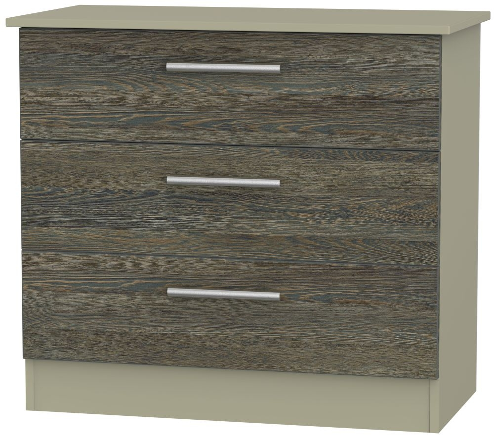 Contrast 3 Drawer Chest - Panga and Mushroom
