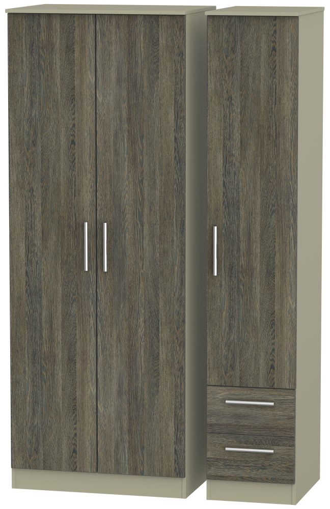 Contrast Panga and Mushroom Triple Wardrobe - Tall Plain with 2 Drawer