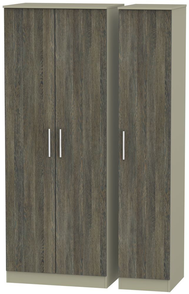 Contrast Panga and Mushroom 3 Door Tall Plain Triple Wardrobe
