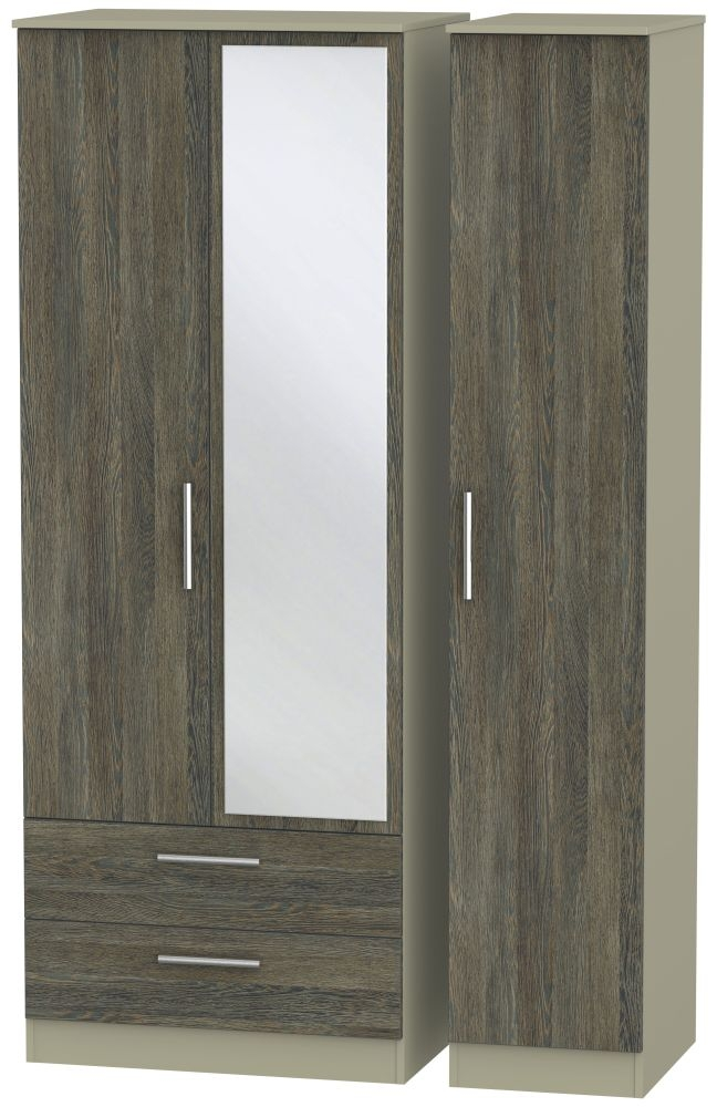 Contrast Panga and Mushroom 3 Door 2 Left Drawer Tall Mirror Triple Wardrobe