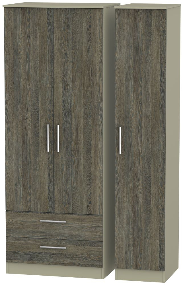 Contrast Panga and Mushroom 3 Door 2 Drawer Tall Triple Wardrobe