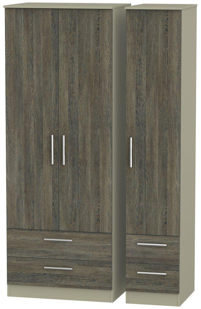 Contrast Panga and Mushroom 3 Door 4 Drawer Tall Triple Wardrobe