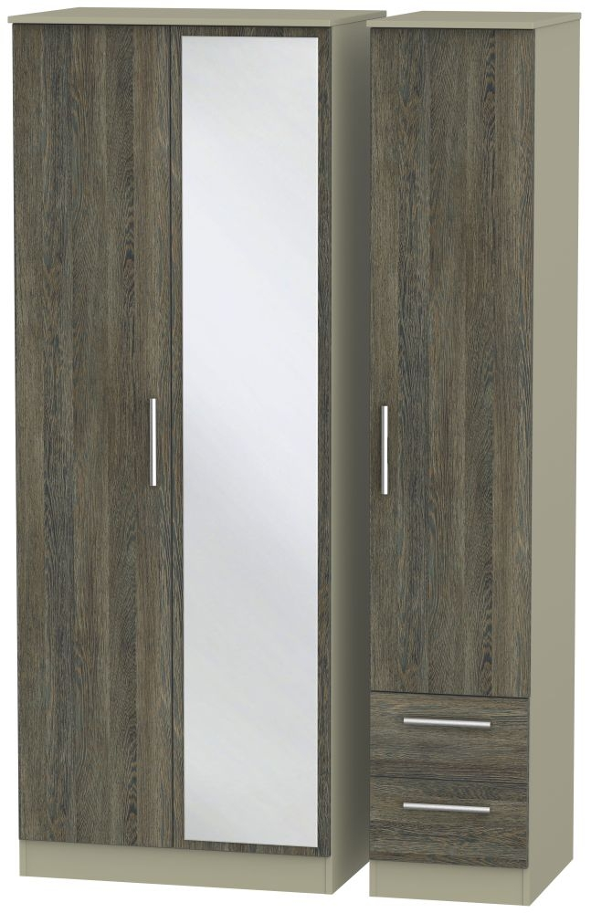 Contrast Panga and Mushroom 3 Door 2 Right Drawer Tall Mirror Triple Wardrobe