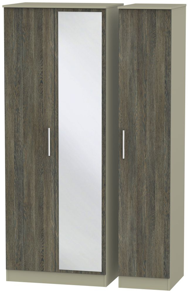 Contrast 3 Door Mirror Wardrobe - Panga and Mushroom