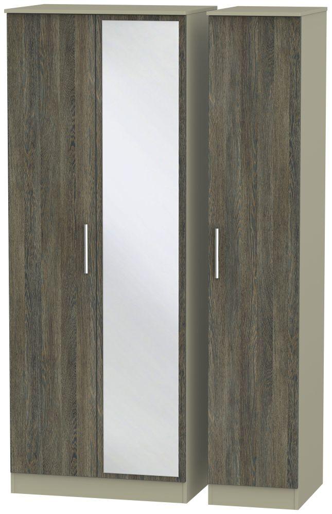 Contrast Panga and Mushroom 3 Door Tall Mirror Triple Wardrobe
