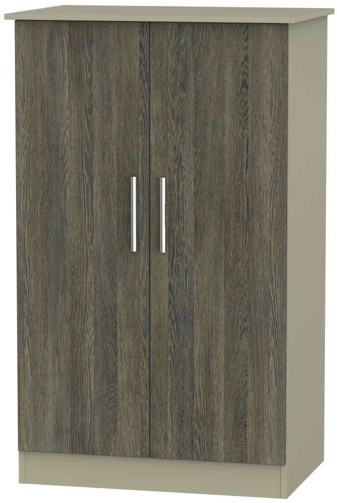 Contrast Panga and Mushroom 2 Door Plain Midi Wardrobe