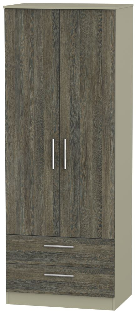 Contrast 2 Door 2 Drawer Wardrobe - Panga and Mushroom