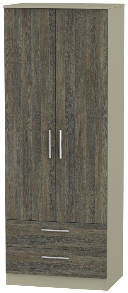 Contrast Panga and Mushroom 2 Door 2 Drawer Tall Double Wardrobe