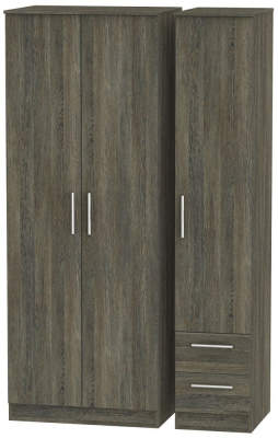 Contrast Panga Triple Wardrobe - Tall Plain with 2 Drawer