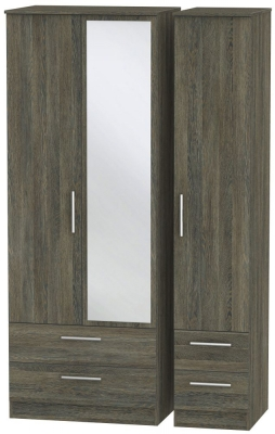 Contrast Panga Triple Wardrobe - Tall with Drawer and Mirror