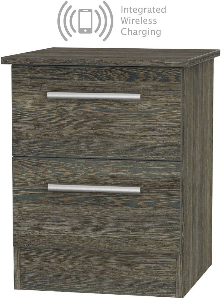 Contrast Panga 2 Drawer Bedside Cabinet with Integrated Wireless Charging