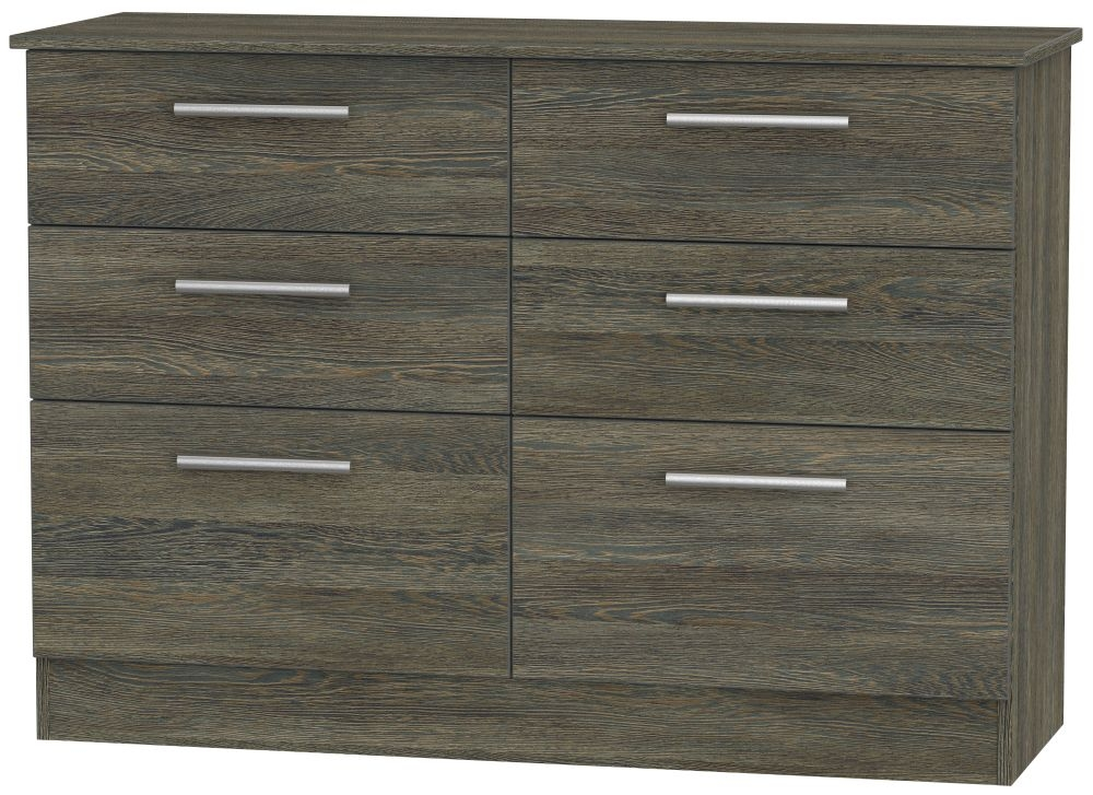 Contrast Panga Chest of Drawer - 6 Drawer Midi