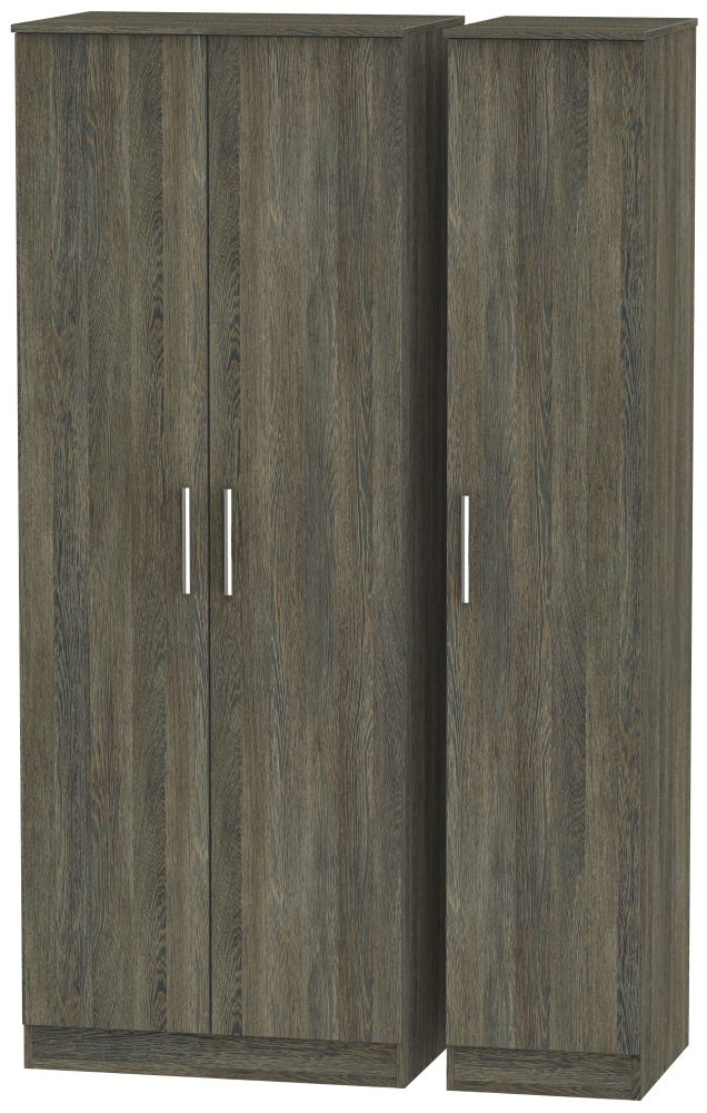 Contrast Panga 3 Door 2 Drawer Tall Plain Triple Wardrobe