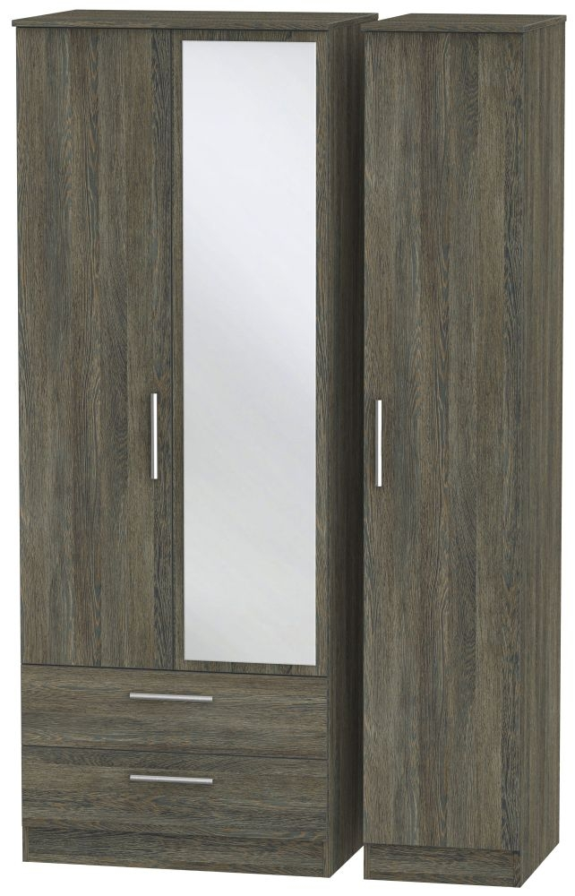 Contrast Panga Triple Wardrobe - Tall with 2 Drawer and Mirror