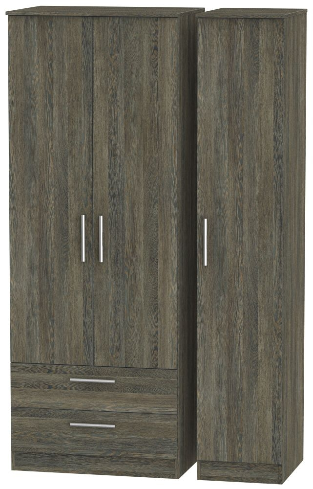Contrast Panga Triple Wardrobe - Tall with 2 Drawer