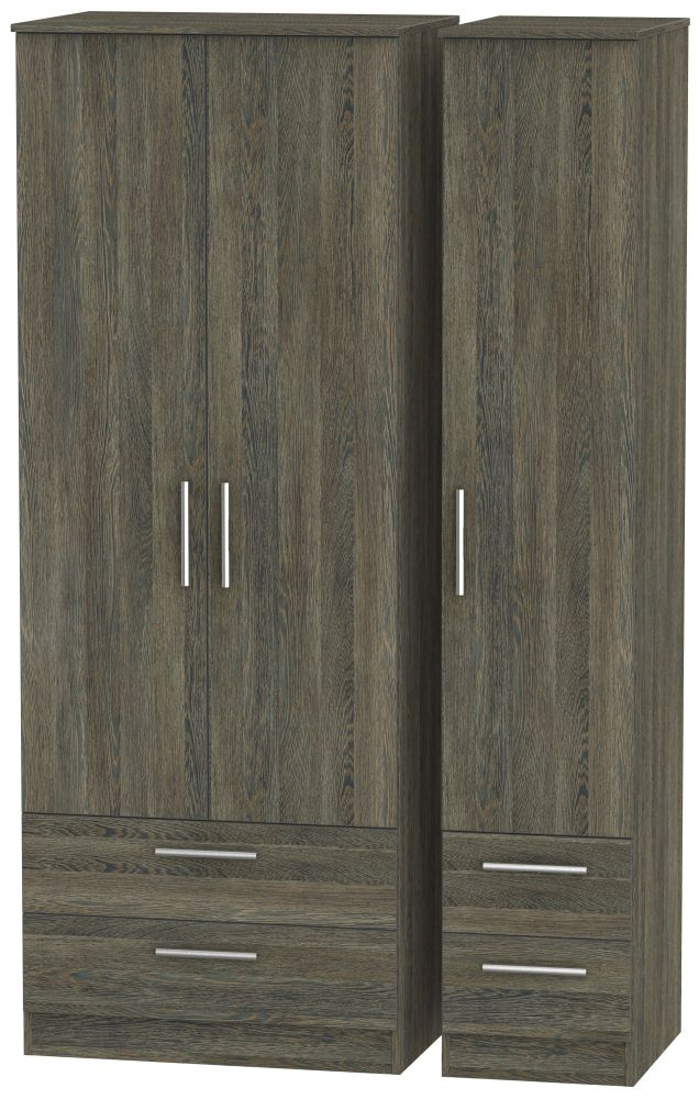 Contrast Panga 3 Door 4 Drawer Tall Triple Wardrobe