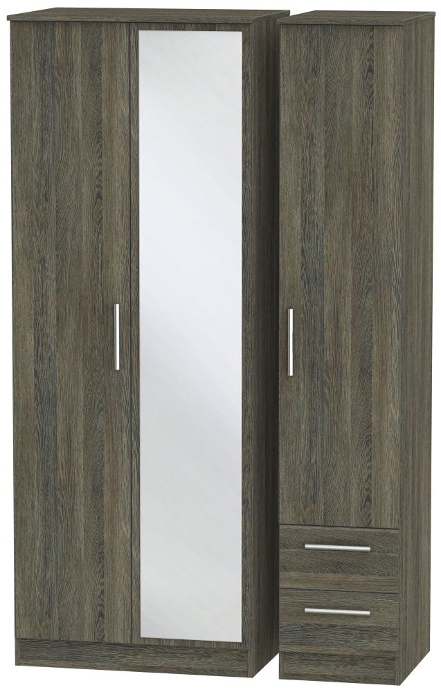 Contrast Panga Triple Wardrobe - Tall with Mirror and 2 Drawer