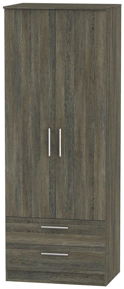 Contrast Panga Wardrobe - Tall 2ft 6in with 2 Drawer