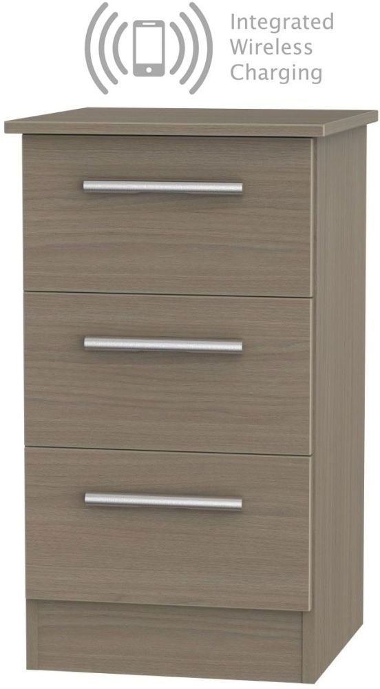 Contrast Toronto Walnut 3 Drawer Bedside Cabinet with Integrated Wireless Charging