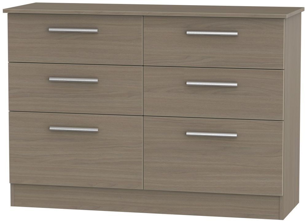 Contrast Toronto Walnut Chest of Drawer - 6 Drawer Midi