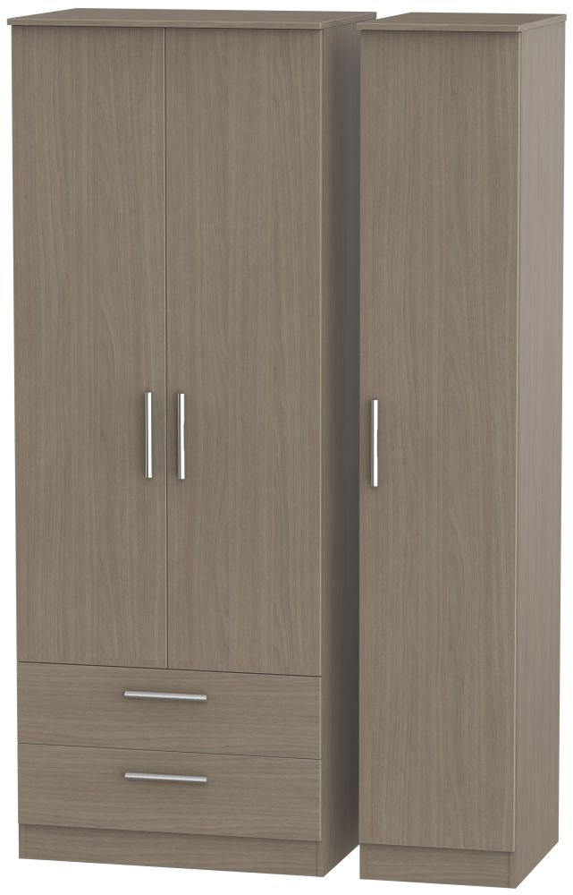 Contrast Toronto Walnut 3 Door 2 Drawer Wardrobe