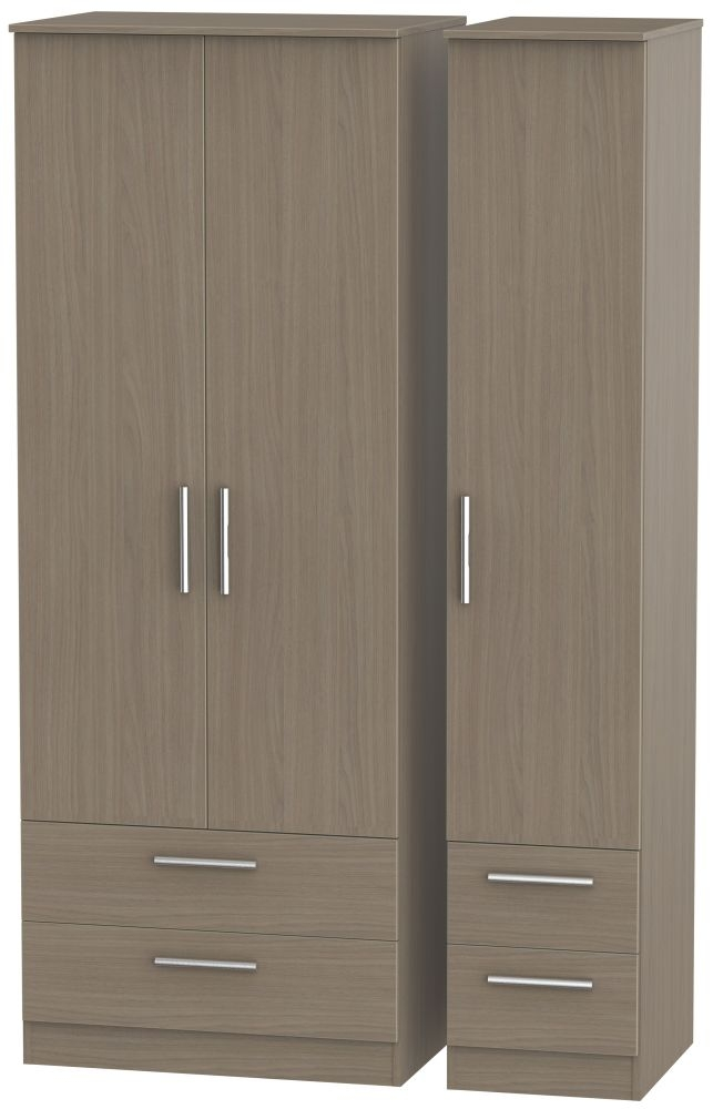 Contrast Toronto Walnut 3 Door 4 Drawer Tall Triple Wardrobe
