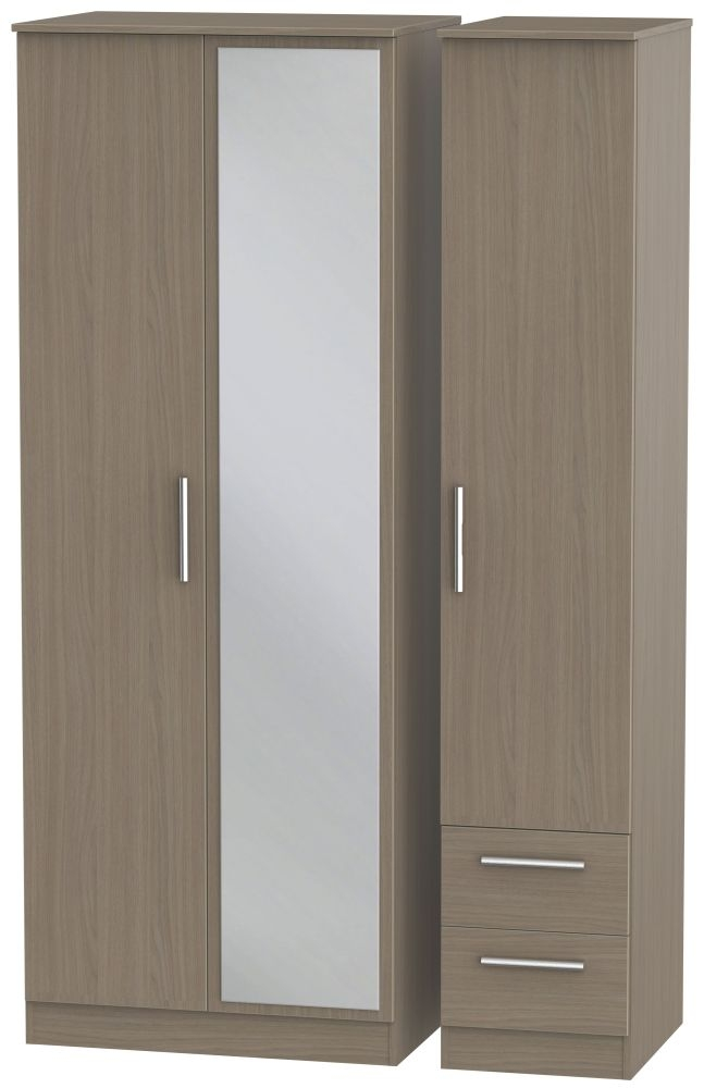 Contrast Toronto Walnut 3 Door 2 Right Drawer Tall Mirror Triple Wardrobe