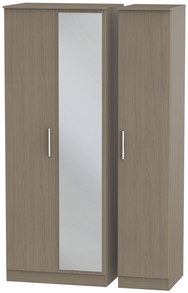 Contrast Toronto Walnut 3 Door Tall Mirror Triple Wardrobe