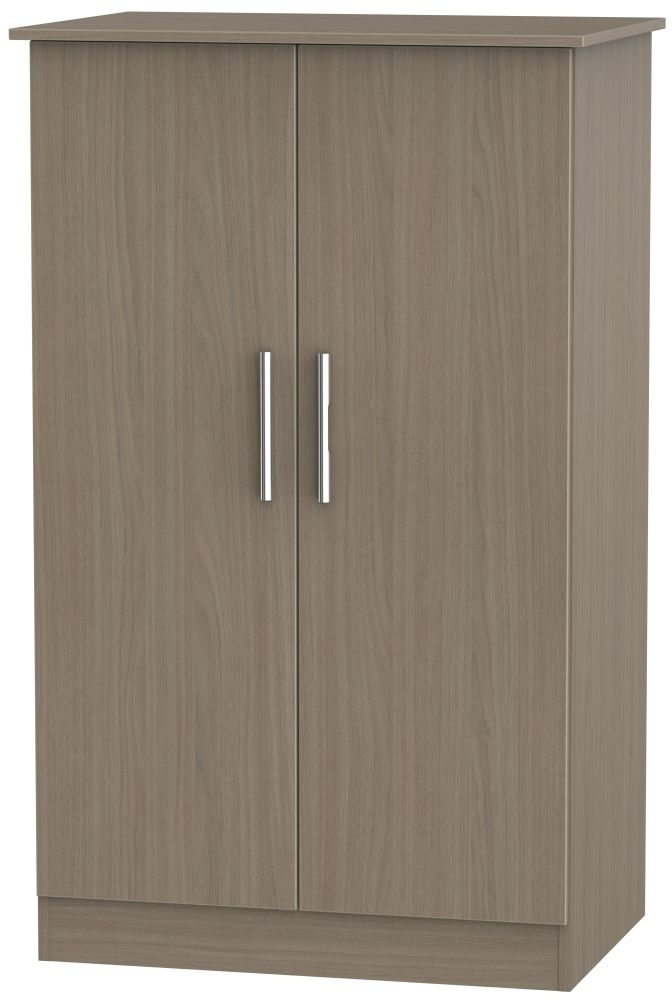 Contrast Toronto Walnut Wardrobe - 2ft 6in Plain Midi