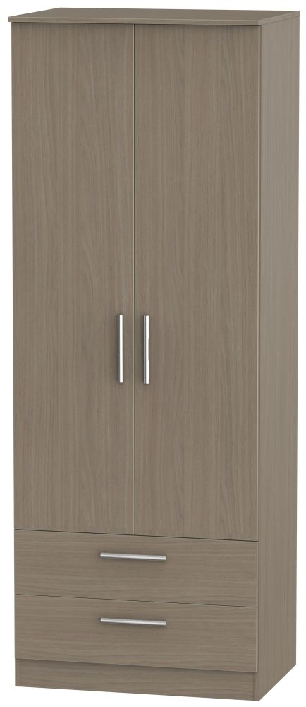 Contrast Toronto Walnut 2 Door 2 Drawer Wardrobe