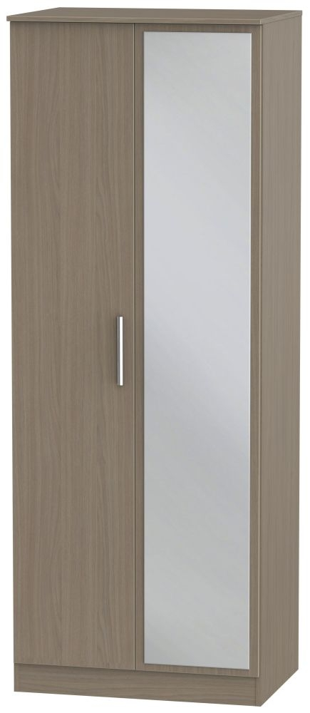 Contrast Toronto Walnut 2 Door Mirror Wardrobe