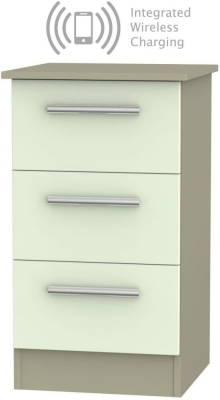 Contrast 3 Drawer Bedside Cabinet with Integrated Wireless Charging - Vanilla and Mushroom