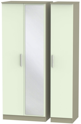 Contrast 3 Door Mirror Wardrobe - Vanilla and Mushroom