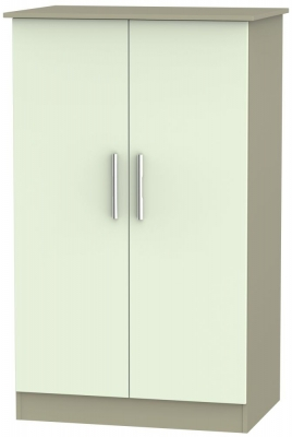Contrast 2 Door Midi Wardrobe - Vanilla and Mushroom