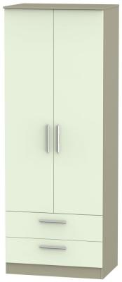 Contrast 2 Door 2 Drawer Wardrobe - Vanilla and Mushroom