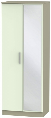 Contrast 2 Door Mirror Wardrobe - Vanilla and Mushroom