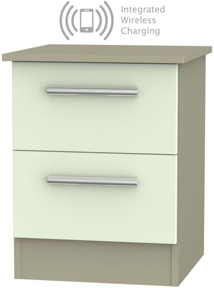 Contrast 2 Drawer Bedside Cabinet with Integrated Wireless Charging - Vanilla and Mushroom